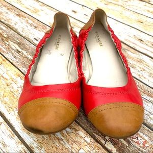 Coach leather flats shoes size 6 red tan camel